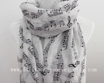 Music Scarf, music notes, music sheets, piano shawl, piano gifts, piano teacher gift, panist gift, for her, for women, womens scarves
