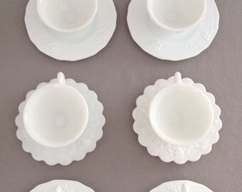 Vintage Milk Glass Tea Cups and Saucers,Mid-century Cups,Set of 7,Wedding,Bridal Shower,Baby Shower and Tea Party,Favors,Shabby Chic,Cottage