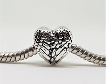 Silver Angel Wings Charm for European Bracelets (item 205)