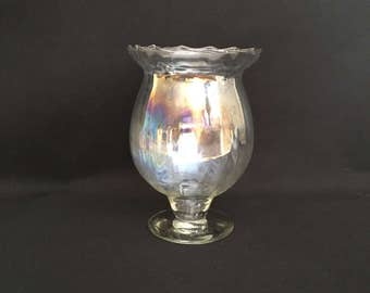 Clear opalescent footed vase carnival glass fluted sides ruffled edge vintage retro antique
