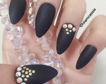 Set of Stiletto Press on Nails - Black Nails Rhinestone Accent Nails Hand Designed 3D Nails False Nails