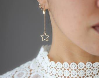 Gold Star Earrings - Dangle Earrings - Star Hoop Earrings - Bohemian Jewelry - Simple Earrings - Everyday Jewelry - Gift for Her