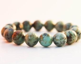 African Turquoise stone 10mm - African Turquoise Bracelet, Green Beads Bracelet, Womens Bracelet, Mens Bracelet, African Turquoise jewerly