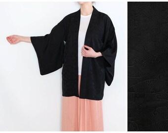 Short Black Kimono with a Delicate Wavy Pattern - Vintage Haori Kimono - Haori - Black Kimono - Silk Kimono - Authentic Japanese Kimono