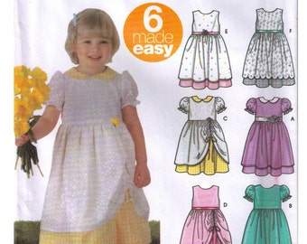 Uncut Simplicity 5629 Sewing Pattern Size 1/2, 1, 2, Toddlers' Dress, Flower Girl Dress, Full Skirt Ruched, Princess Dress
