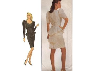 Uncut Simplicity 8673, 80s Sewing Pattern, Size 8-12 Jessica McLintock Short Prom Dress Pattern Peplum Dress, Evening Gown Puffed Sleeves