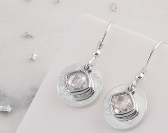 Silver memorial birthstone earrings