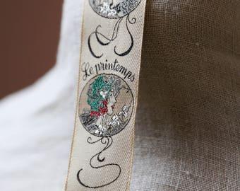 RARE TRAFALGAR Elegant Woven Silk French Seasons Art Nouveau-Button Braces- Groom's Wear-Men's Accessories