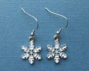 Snowflake Earrings - Dangle Earrings - Snowflake - Holiday Jewelry - Winter Jewelry - Christmas Jewelry - Holiday Earrings -- E121
