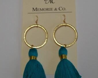 SUMMER SALE | Turquoise Tassel Earrings on Gold Hoop