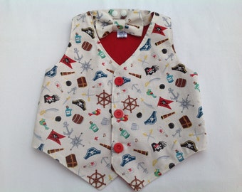 Boys Waistcoat, Bow Tie, boys vest,  boys outfit, baby outfit,  6 months to 5 years