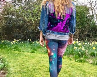 Disco Sequin Fringe Festival Jacket with Flip-Colour Sequins