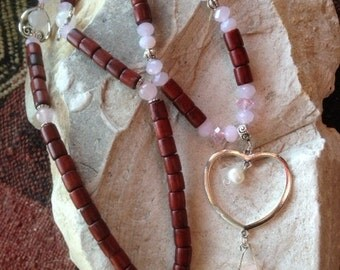 Long necklace * ride in the lands of love *, rose quartz, rose quartz point gross, beads of wood, heart, pearl culture