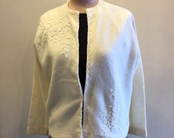Vintage 1950's Creamy White Beaded Cardigan Made in Hong Kong