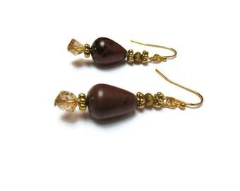 Natural obsidian earrings /Mahogany obsidian earrings / Gemstone earrings / Semi precious stone earrings / Drop obsidian earrings /