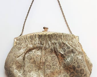 Dainty French 1950's small silver brocade evening bag with ivory satin lining