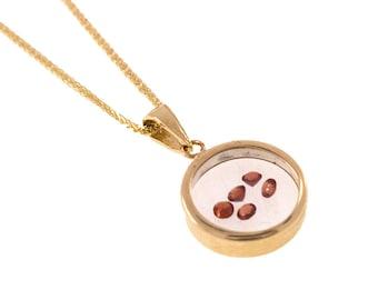 Garnet pendant - 14k gold pendant - glass pendant - red Garnet pendant - January birthstone - gold Garnet necklace - glass necklace