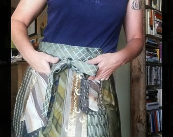 Earth tone half apron, silk tie vendor apron, upcycled half apron, green tie apron, two pocket utility apron, unique half apron, tie apron