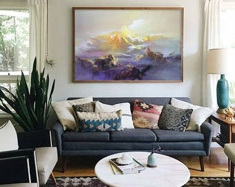 Abstract Oil Painting, Contemporary Art, Hand Made Large Art, extra large wall art Landscape oil painting, blue painting, large canvas art.