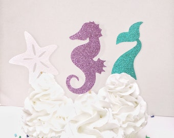 Mermaid Cupcake Topper, Under the Sea Party Decorations, Purple, Teal, Glitter, Seahorse, Tail, Starfish, Girls Birthday, Party Theme