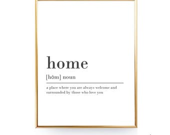 Home Digital Download Print INSTANT DOWNLOAD Definition Print Modern Home Decor Home Definition Digital Typography Art Bedroom Art