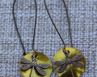 Mussel Shell Dragonfly Earrings