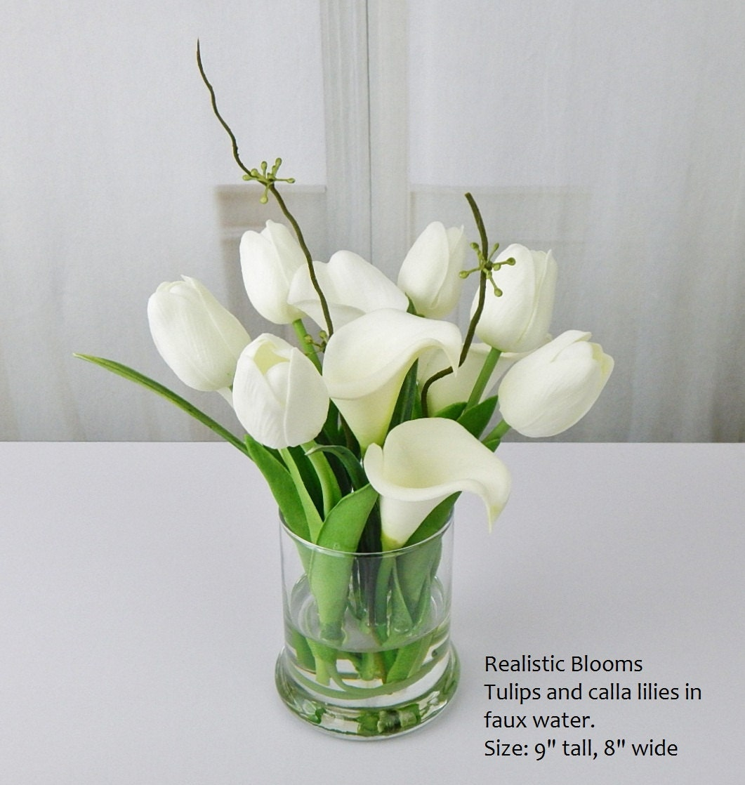 Whiteoffwhite silk tulipstulip calla lilies glass faux whiteoffwhite silk tulipstulip calla lilies glass faux water acrylic illusion real touch flowers floral arrangement centerpiece reviewsmspy