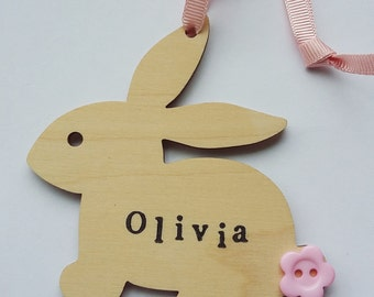 Bunny - Wooden Decoration - Personalised