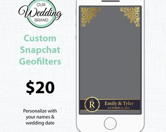 Navy & Gold Wedding Snapchat Geofilter - Personalized