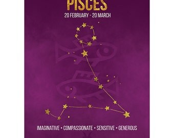 Birthday Card - Pisces Star Sign Astrology Zodiac Purple Blank Card CP3167