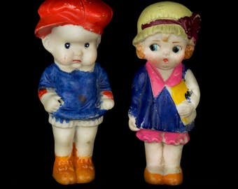 Vintage 1920s Kewpie Style Flapper Dolls, Large Sized Bisque Carnival Prizes