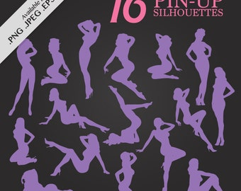 Clip Art Digital Pin-Up Silhouette Pack - Set with 16 png, jpeg, svg and eps files for tags, collage, scrapbook, clip art and more SALE