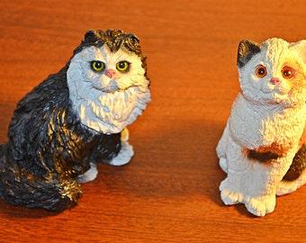 Cat Figurines, Stone Critters, Calico, Tuxedo