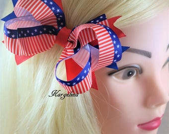 Large 4.5 Inch Hair Bow USA Hair Bow American Flag Bow 4th July Hair Clip Baby Girls Hair Bows Boutique bows Headwear Independence Day