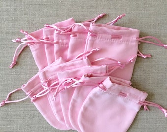 """50% OFF CLEARANCE SALE - 10pcs Pink Jewelry Bag - Mini Drawstring Bags - Gift Bags - 3.75"""" x 4.5"""" (9.5cm x 11.5cm) (was 6.00)"""