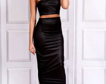 Kate - Choker Strapless Tube Top - Black