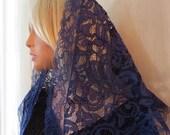 Navy Blue Alençon French Corded Lace Mantilla Chapel Veil Catholic Veil