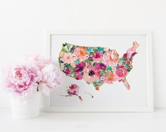Map wall Art, US Map print, United States map wall art, World map Wall art, Home, Office decor, Printable art, Chic art, floral art, USA art