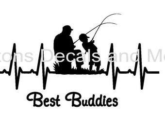 EKG Fishing Buddies Decal - Windows, WIndshields, Laptops, Doors, Tackleboxes, etc.