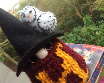 Harry Potter Gnome, with felt Hedwig and knitted sweater. Gift Christmas woodland creature. Harry Potter inspiration.