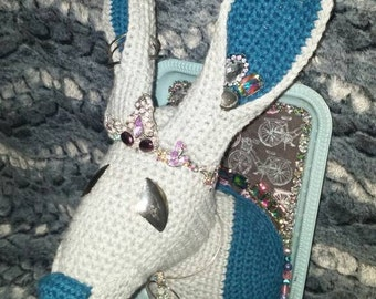 Faux Taxidermy Crochet Hare Room Decor