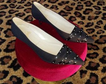 Clean, Vintage, Christian Louboutin, Black, Crepe Fabric, Satin Ribbon, Pearl, Kitten, Heel, Shoes, Pumps