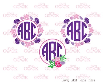 Under The Sea SVG cut files, Sea Shell Monogram frames svg, Shell svg, Sea svg cut files for cricut and Silhouette, svg files
