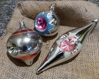 set of 3 Christmas tree ornaments Christmas decoration Soviet vintage