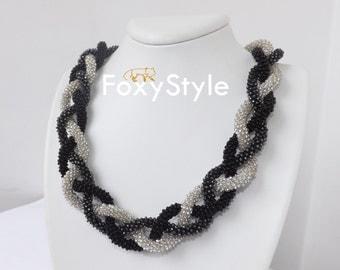 valentine gift black jewelry crochet handmade gift white necklace black necklace mother's day gift for women gift for birthday black gift