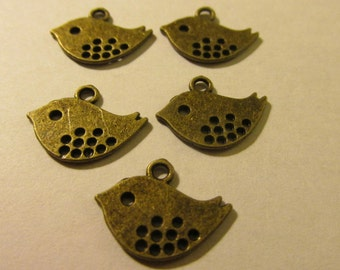 Bronze Metal Cut-Out Little Birdie Charms, 15mm, Set of 10