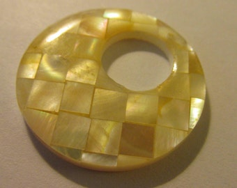 Mother-of-Pearl Shell Mosaic Tile Pendant, 30mm