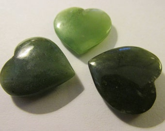 """Carved Natural Green Jade Heart Charms, 3/4"""", Set of 3"""