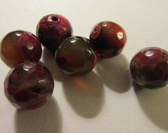 Faceted Red-Black Fire Agate Gemstone Beads, 12mm, Set of 6