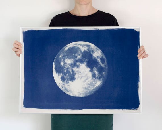 Full Moon Large Cyanotype Print on Watercolor Paper, Wall Art 50x70 cm (Limited Serie)